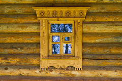 Window in Russian wooden house Stock Photo