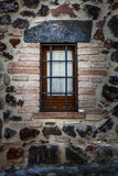 Window rustic house with railings. Protection from thieves Royalty Free Stock Photos