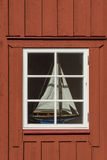 Window with sailingboat Royalty Free Stock Photo