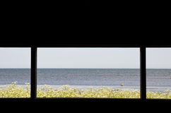 Window scene. With blue sea and blue sky Royalty Free Stock Photography