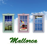 Window scenes and Majorca Royalty Free Stock Images