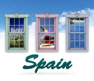 Window scenes and Spain. Travel poster or ad with three window frames and different scenes on a blue sky and cloud background and the word Spain in the stock illustration