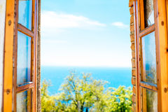Window with sea view Royalty Free Stock Images