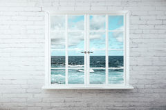 Window with sea view Royalty Free Stock Photo