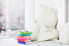 Window seat with books Royalty Free Stock Photography