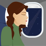 Window Seat Sleeping. Woman asleep - her head against a pillow and an airplane window - with the night sky in the background Vector Illustration