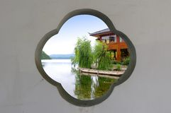 Through the window and see the beautiful scenery. China Lijiang, the beautiful lake Royalty Free Stock Image