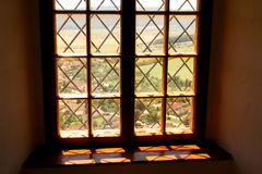 Window in the serf  castle. View from the window in the ancient serf castle in Slovakia Stock Images