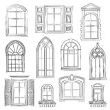 Window set. Different architectural style of windows doodle sketch stylish collection stock illustration
