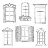 Window set. Different architectural style of windows doodle sketch stylish collection vector illustration