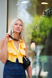 Fashion blond woman shopping Stock Photo