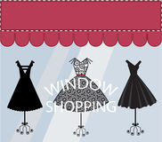 Window Shopping. Empty banner with Awing and Little Black dresses in the window royalty free illustration