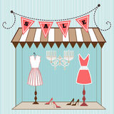 Window Shopping. Summer dresses in window with flag banner above stock illustration