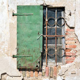 Window shutter. On an old house in the city of Lesce in Slovenia Royalty Free Stock Images
