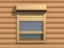 Window with shutters. Window with rolling shutters system on the wooden wall stock illustration