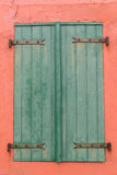Window with shutters. Window with colorful shutters on the opal coast in northern France stock photo