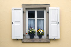 Window with shutters and flower pots Stock Images