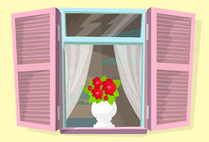 Window Shutters Flower Retro Blinds  Royalty Free Stock Photography