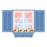 Window with shutters and flowerpot in flat style Stock Photo