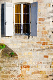 Window with Shutters. French Window with Open Wooden Shutters Stock Photography