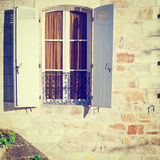Window with Shutters. French Window with Open Wooden Shutters, Instagram Effect Stock Image