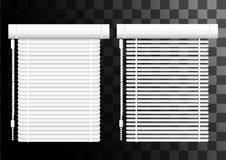 Window shutters. Office interior blinds. Window decor. Horizontal window blind. Vector illustration. Grey window blinds. Office ac. Cessories. Web site page and Royalty Free Stock Photos