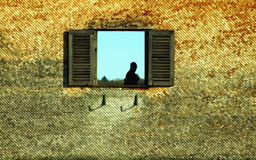 Window Silhouette. The silhouette of a man walking behind a window in an old wood-covered wall Stock Photos