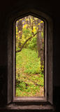 Window silhouette in a medieval castle ruins Stock Images