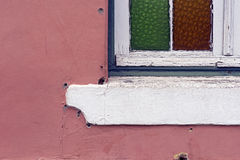 Window-sill detail in pink wall Stock Photo