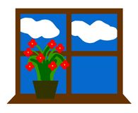 Window sill frames flowers clouds sky Royalty Free Stock Photography
