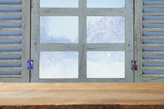 window sill in front of dreamy winter landscape background Stock Photos