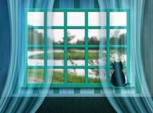 Window sith cat Stock Photo