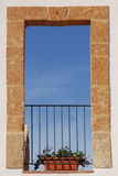 A window in the sky. A window in an ancient house in Sicily Royalty Free Stock Photos