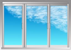 Window and sky. With clouds stock illustration