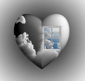 Window with sky in heart royalty free illustration
