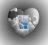 Window with sky heart Royalty Free Stock Images