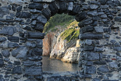 Window in the sky, Portovenere, Cinque Terre, Ital stock photo