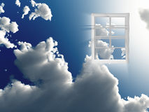 Window in sky. Radiates light Royalty Free Stock Photography