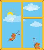 Window with sky, sun and butterflies Stock Image
