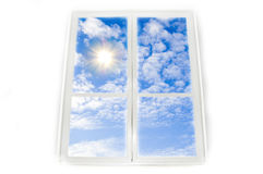 Window sky and sun conceptual image. Viev from window on sky and sun Royalty Free Stock Image