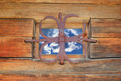 Window with a sky view. Window of country house  with a  sky view Royalty Free Stock Photo