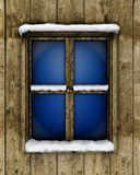 Window with snow. Illustration of a window covered with snow and icicle during the winter season Stock Photos