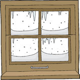 Window with Snow and Ice Royalty Free Stock Photo