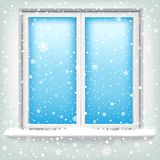 Window and snow. The plastic window and falling snow, winter theme vector illustration