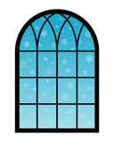 Window snowflakes. Snowflakes behind a window on blue background stock illustration