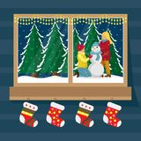 Window socks for gifts with the view of the family making snowman. Christmas window. Flat cartoon illustration royalty free illustration