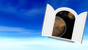 Window in space. (Sight in space through a window Stock Illustration