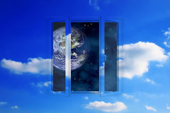 Window into space. Picture of window in sky with view on Earth in space royalty free stock photos