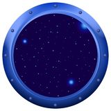 Window with space. Spaceship window porthole with space, dark blue sky and stars stock illustration