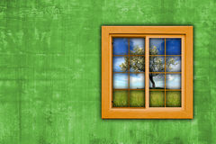 Window with spring landscape view Stock Images